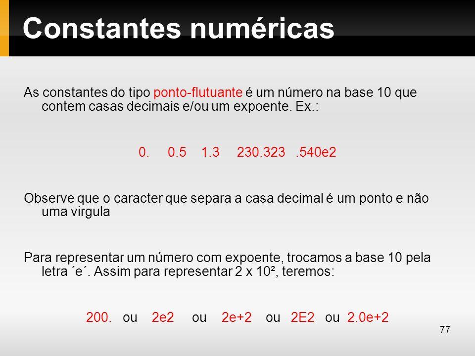 Constantes numéricas