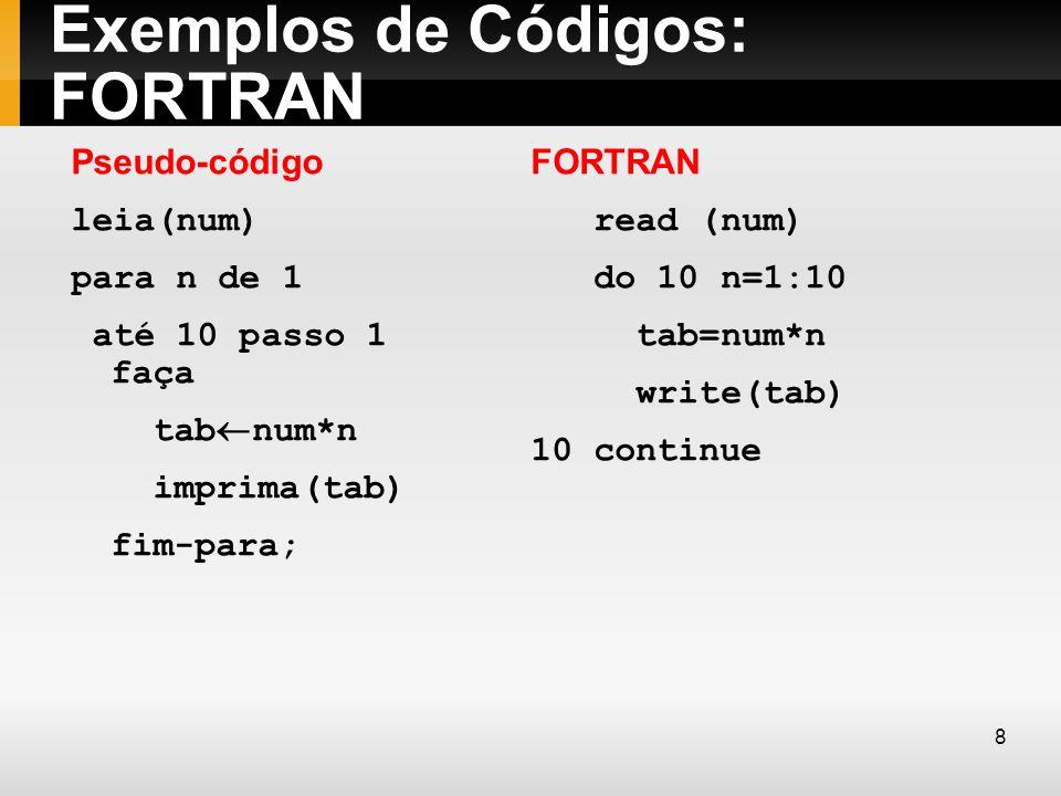 Exemplos de Códigos: FORTRAN
