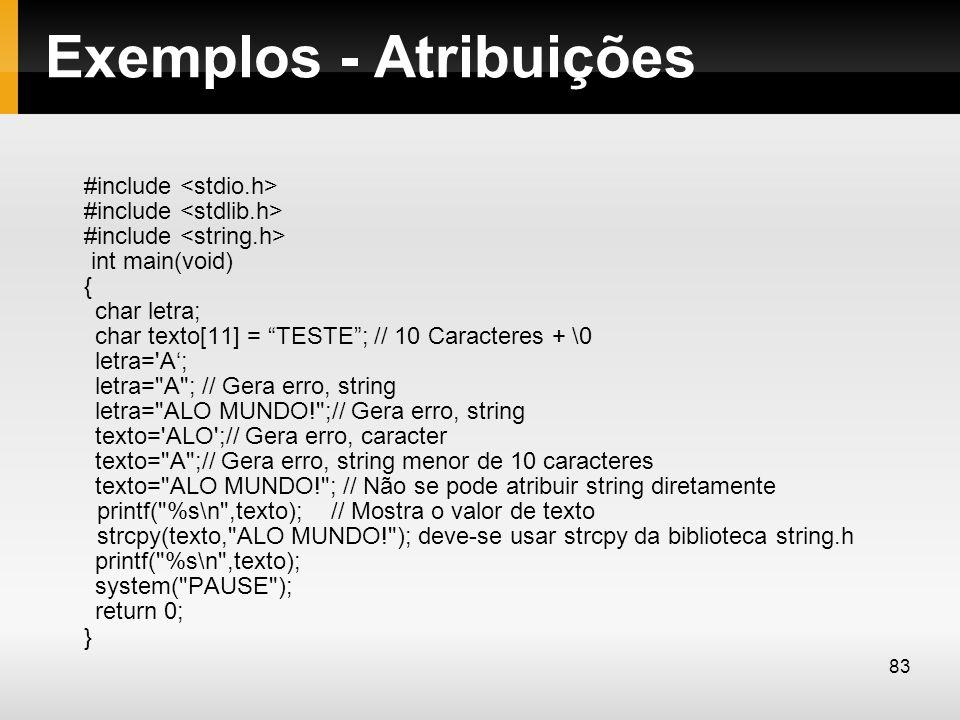 Exemplos - Atribuições