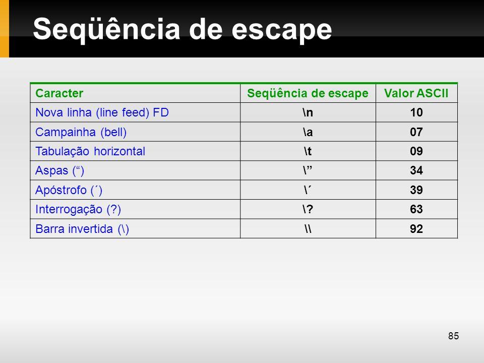 Seqüência de escape Caracter Seqüência de escape Valor ASCII