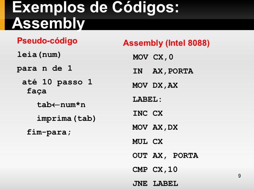 Exemplos de Códigos: Assembly