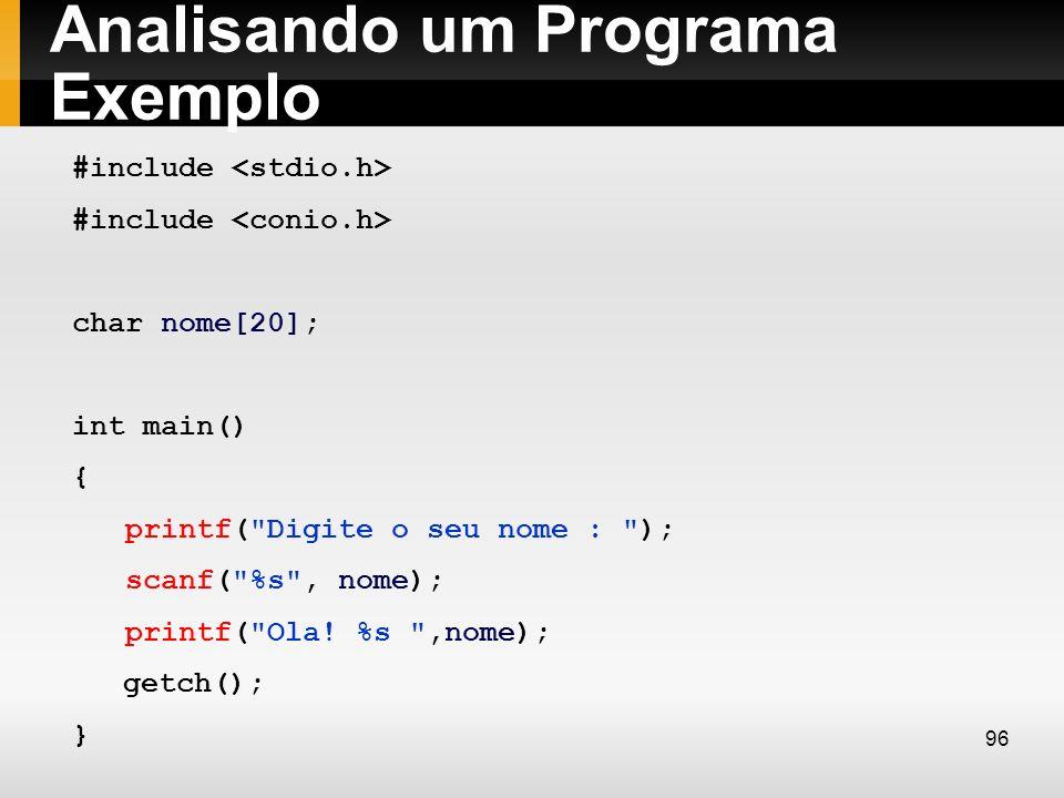 Analisando um Programa Exemplo