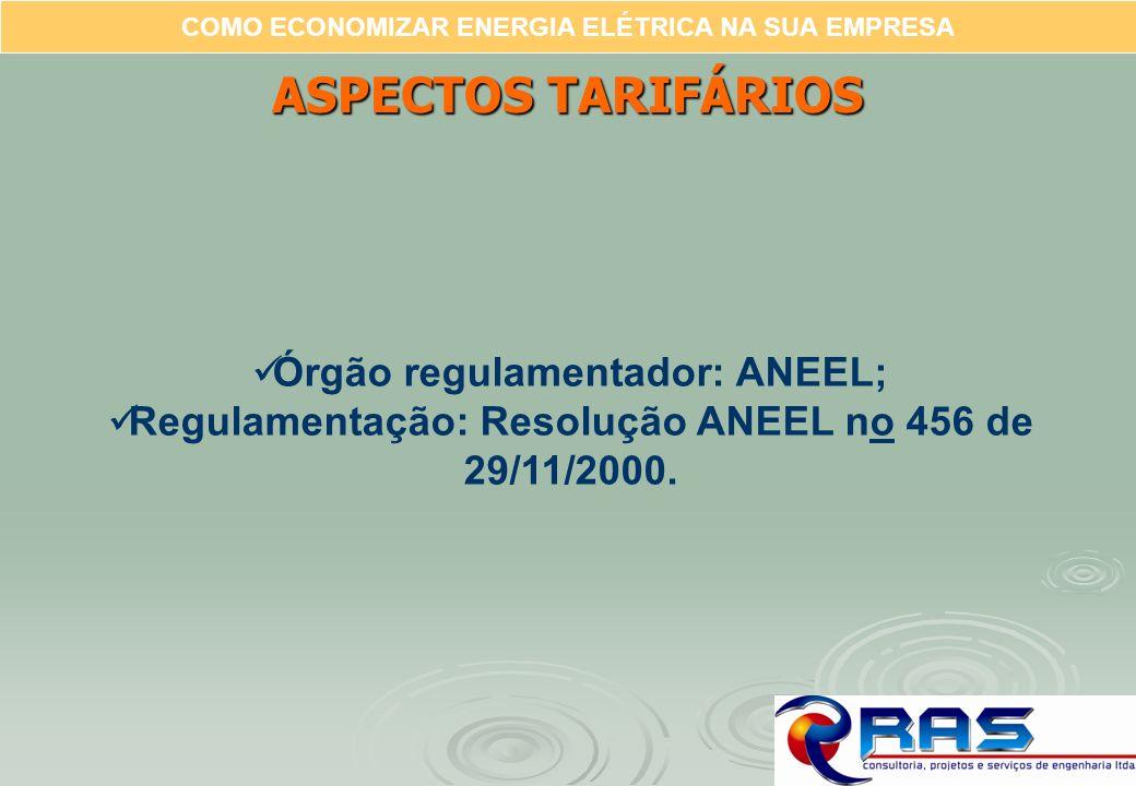 ASPECTOS TARIFÁRIOS Órgão regulamentador: ANEEL;