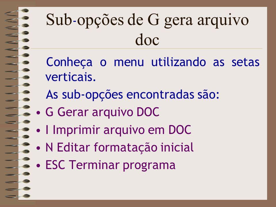 Sub-opções de G gera arquivo doc