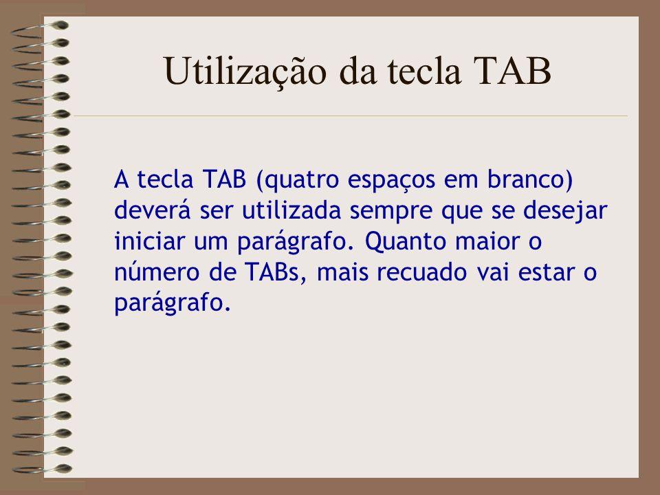 Utilização da tecla TAB