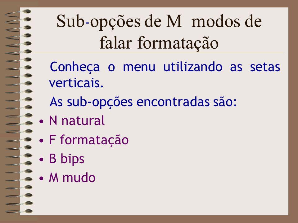 Sub-opções de M modos de falar formatação