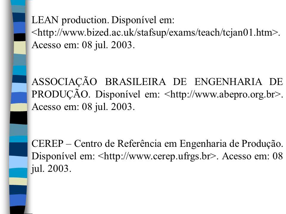 LEAN production. Disponível em: <http://www. bized. ac