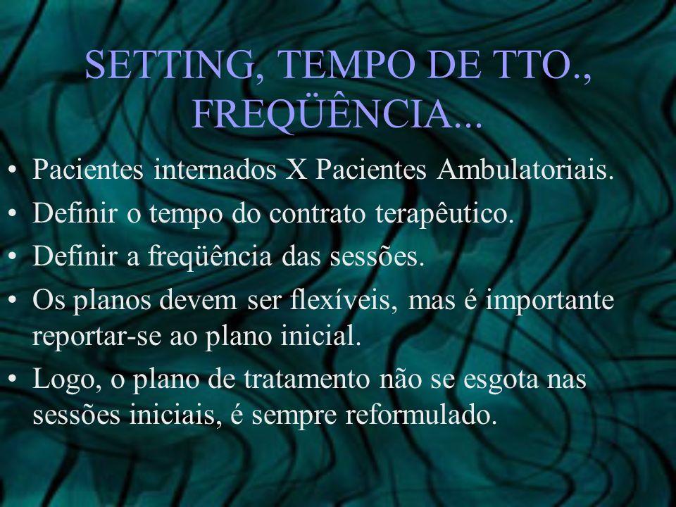 SETTING, TEMPO DE TTO., FREQÜÊNCIA...