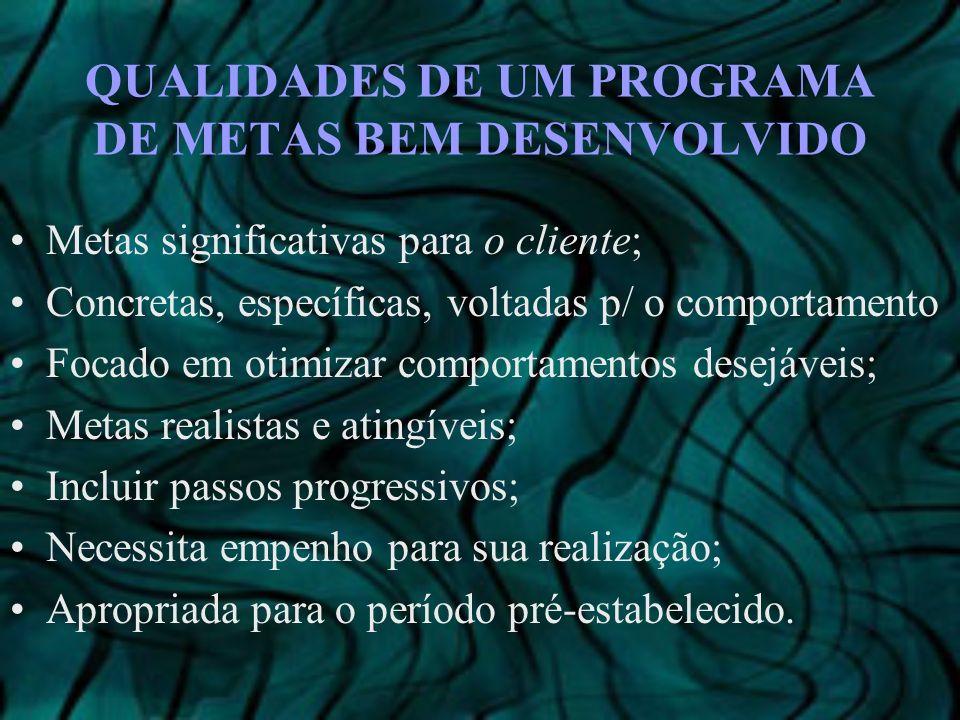 QUALIDADES DE UM PROGRAMA DE METAS BEM DESENVOLVIDO