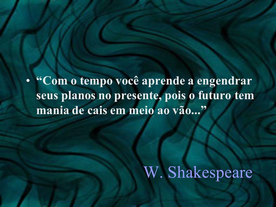 Com o tempo você aprende a engendrar seus planos no presente, pois o futuro tem mania de cais em meio ao vão...