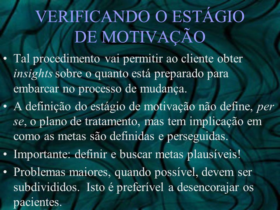 VERIFICANDO O ESTÁGIO DE MOTIVAÇÃO