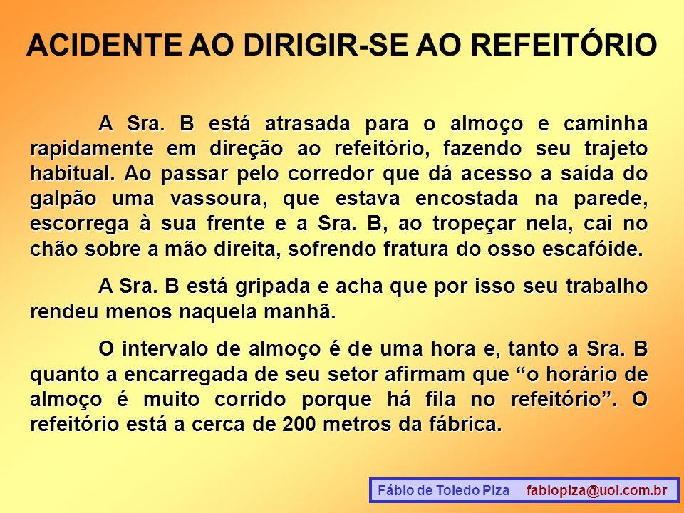 ACIDENTE AO DIRIGIR-SE AO REFEITÓRIO