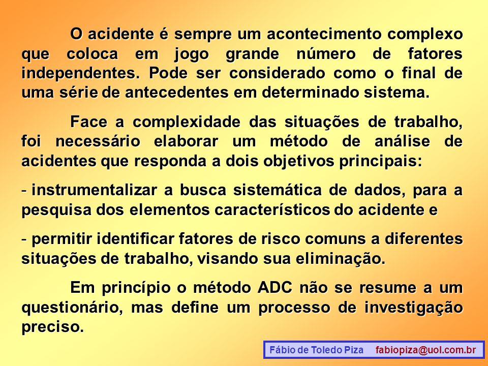 O acidente é sempre um acontecimento complexo que coloca em jogo grande número de fatores independentes. Pode ser considerado como o final de uma série de antecedentes em determinado sistema.