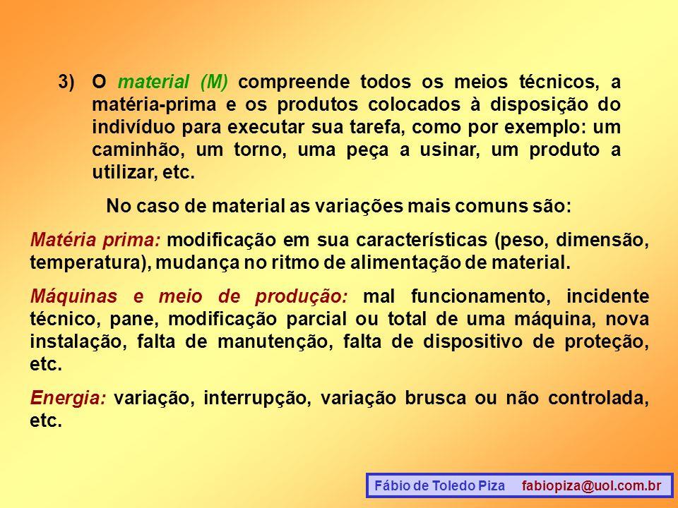 No caso de material as variações mais comuns são: