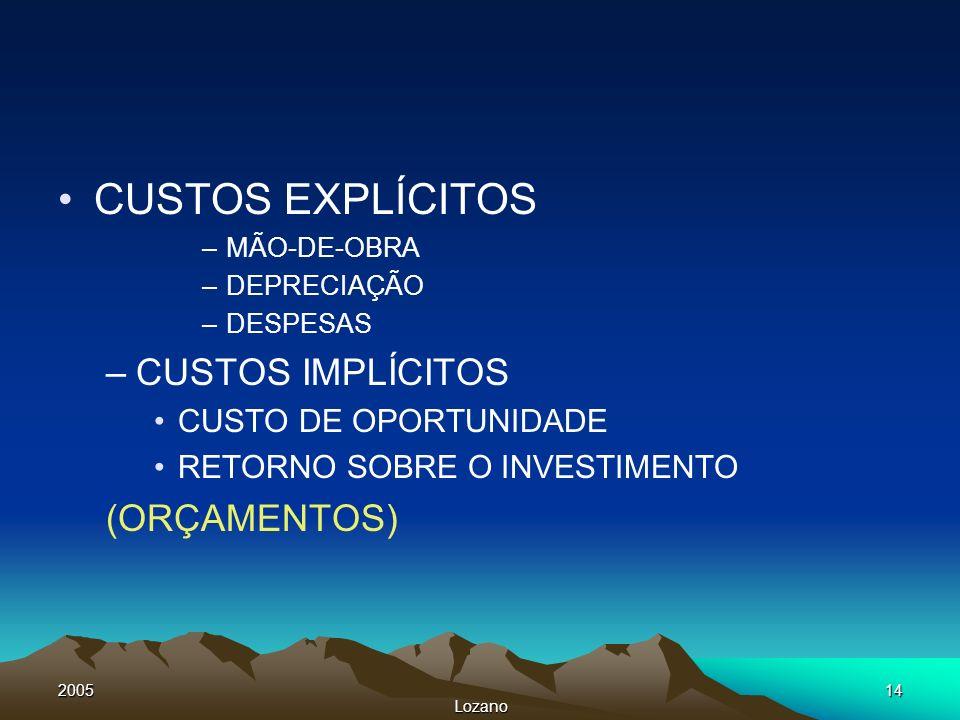 CUSTOS EXPLÍCITOS CUSTOS IMPLÍCITOS (ORÇAMENTOS) CUSTO DE OPORTUNIDADE