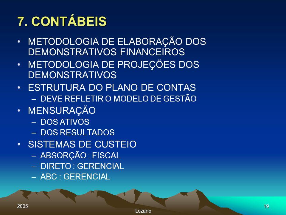7. CONTÁBEIS METODOLOGIA DE ELABORAÇÃO DOS DEMONSTRATIVOS FINANCEIROS