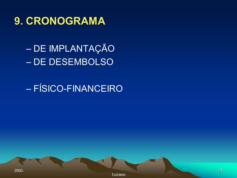 9. CRONOGRAMA DE IMPLANTAÇÃO DE DESEMBOLSO FÍSICO-FINANCEIRO 2005