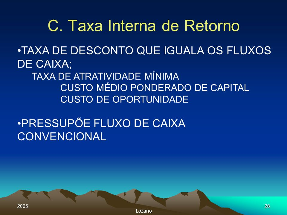 C. Taxa Interna de Retorno