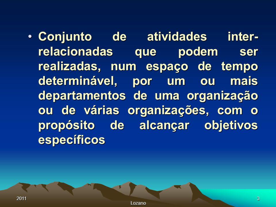 Conjunto de atividades inter-relacionadas que podem ser realizadas, num espaço de tempo determinável, por um ou mais departamentos de uma organização ou de várias organizações, com o propósito de alcançar objetivos específicos