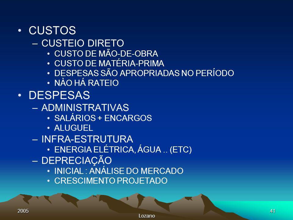 CUSTOS DESPESAS CUSTEIO DIRETO ADMINISTRATIVAS INFRA-ESTRUTURA