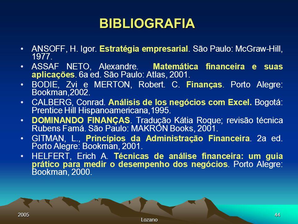 BIBLIOGRAFIA ANSOFF, H. Igor. Estratégia empresarial. São Paulo: McGraw-Hill, 1977.