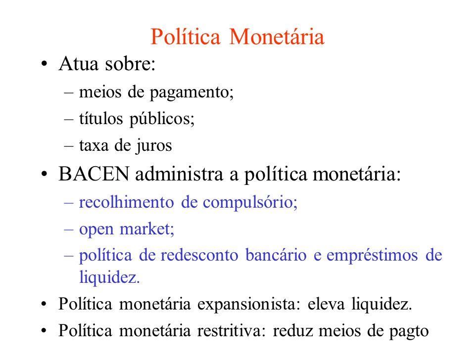 Política Monetária Atua sobre: BACEN administra a política monetária: