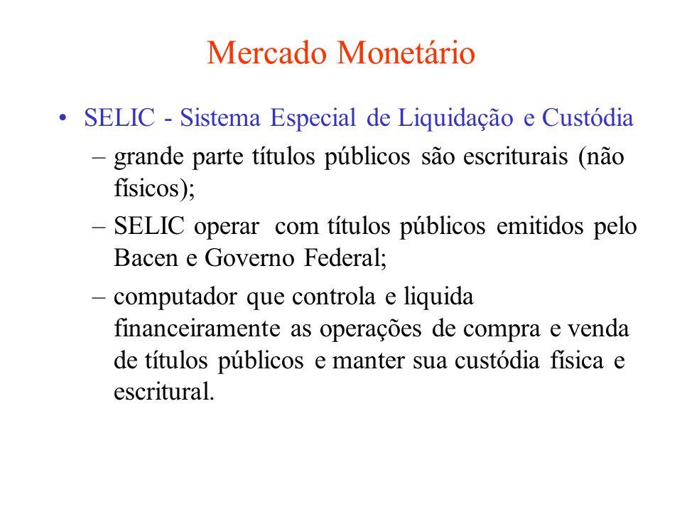 Mercado Monetário SELIC - Sistema Especial de Liquidação e Custódia