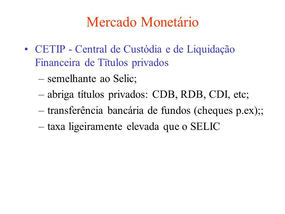 Mercado Monetário CETIP - Central de Custódia e de Liquidação Financeira de Tïtulos privados. semelhante ao Selic;