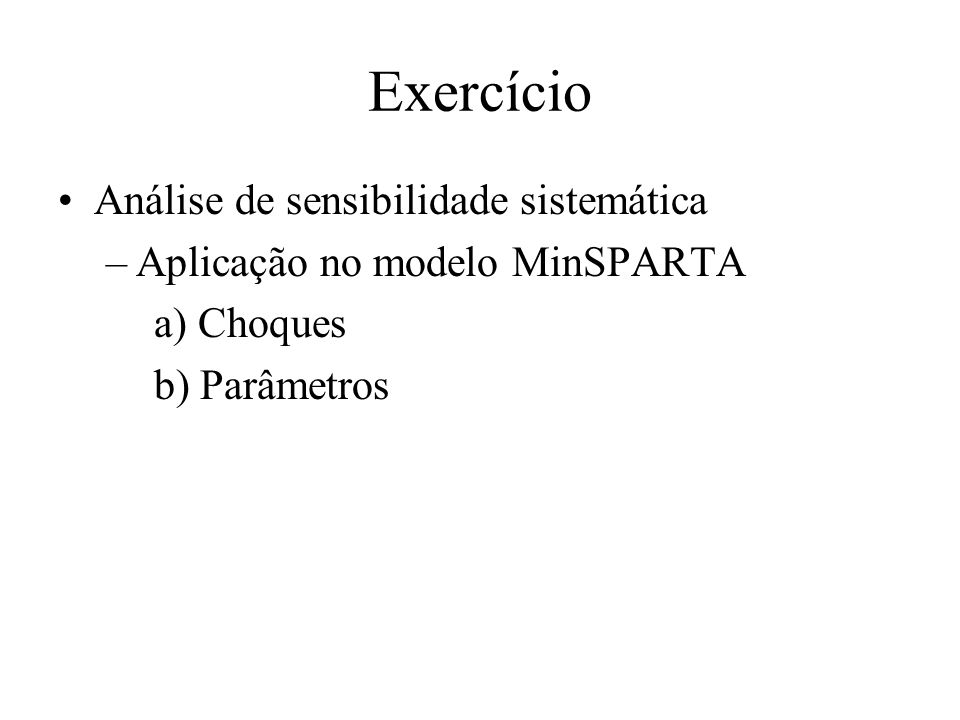 Exercício Análise de sensibilidade sistemática