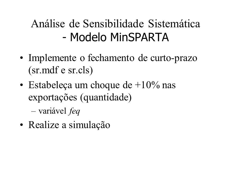 Análise de Sensibilidade Sistemática - Modelo MinSPARTA