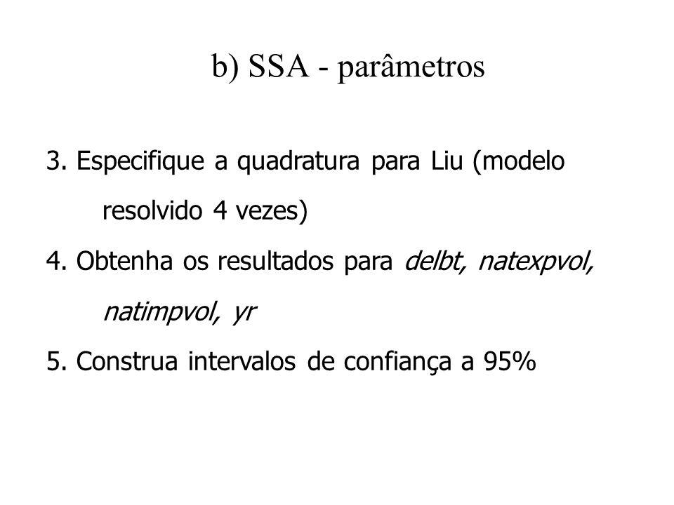 b) SSA - parâmetros3. Especifique a quadratura para Liu (modelo resolvido 4 vezes) 4. Obtenha os resultados para delbt, natexpvol,