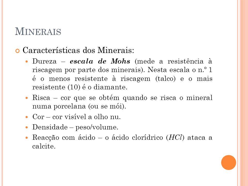 Minerais Características dos Minerais: