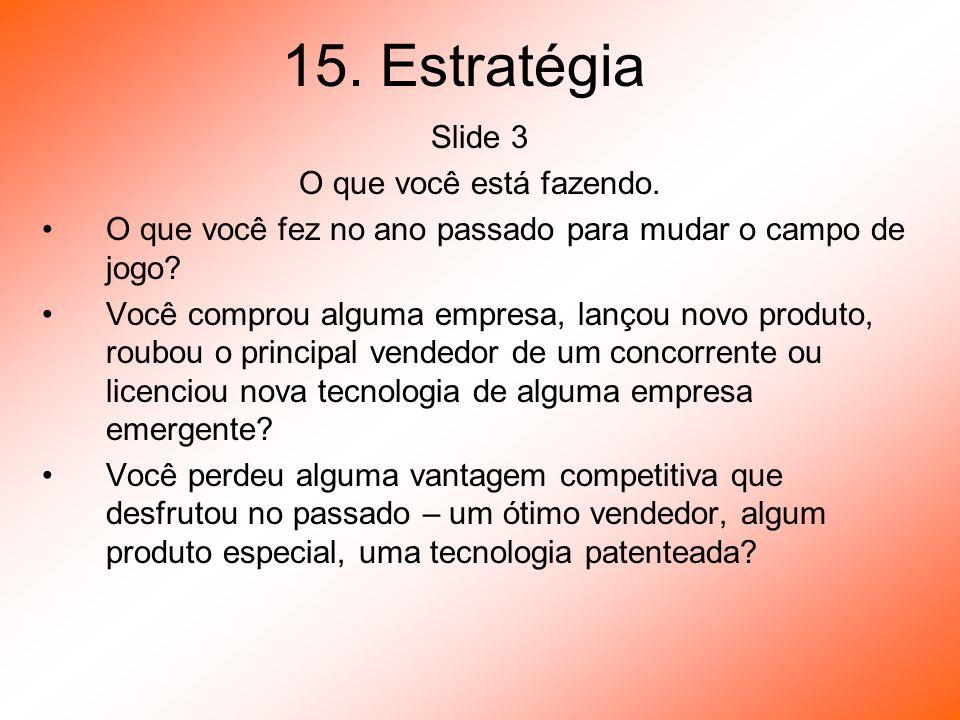 15. Estratégia Slide 3 O que você está fazendo.