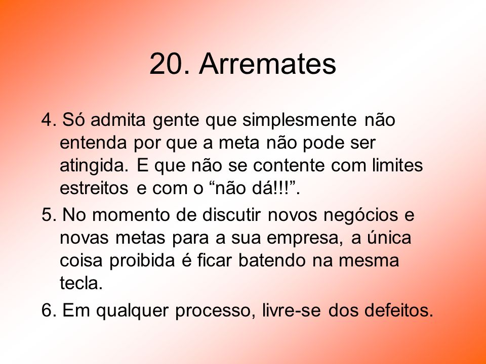 20. Arremates