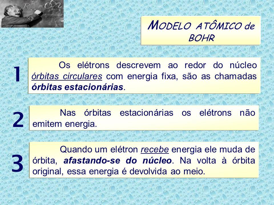 MODELO ATÔMICO de BOHR Os elétrons descrevem ao redor do núcleo órbitas circulares com energia fixa, são as chamadas órbitas estacionárias.