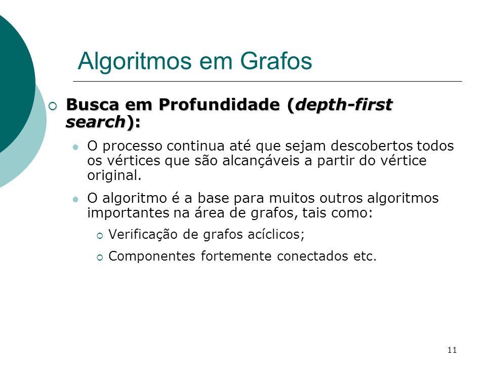 Algoritmos em Grafos Busca em Profundidade (depth-first search):