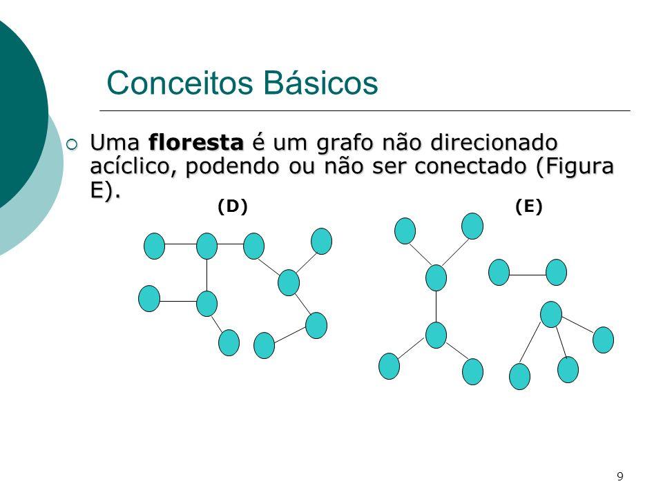 Conceitos Básicos Uma floresta é um grafo não direcionado acíclico, podendo ou não ser conectado (Figura E).