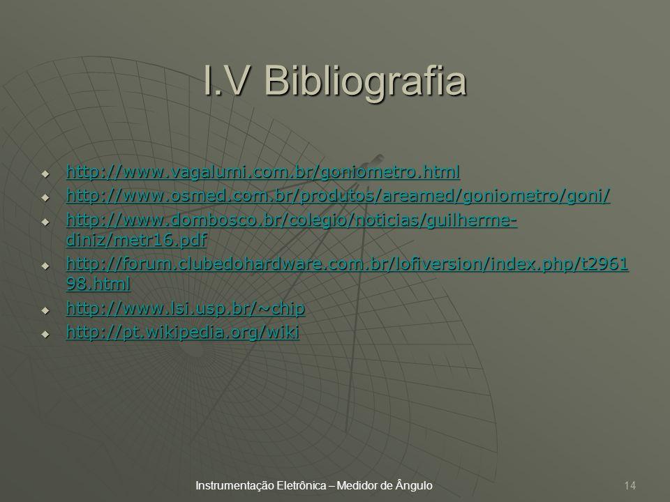 I.V Bibliografia http://www.vagalumi.com.br/goniometro.html
