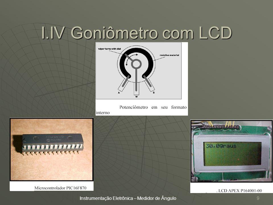 I.IV Goniômetro com LCD Instrumentação Eletrônica – Medidor de Ângulo