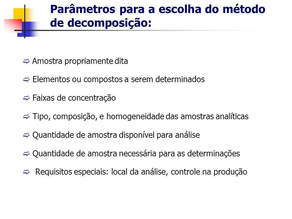 Parâmetros para a escolha do método de decomposição: