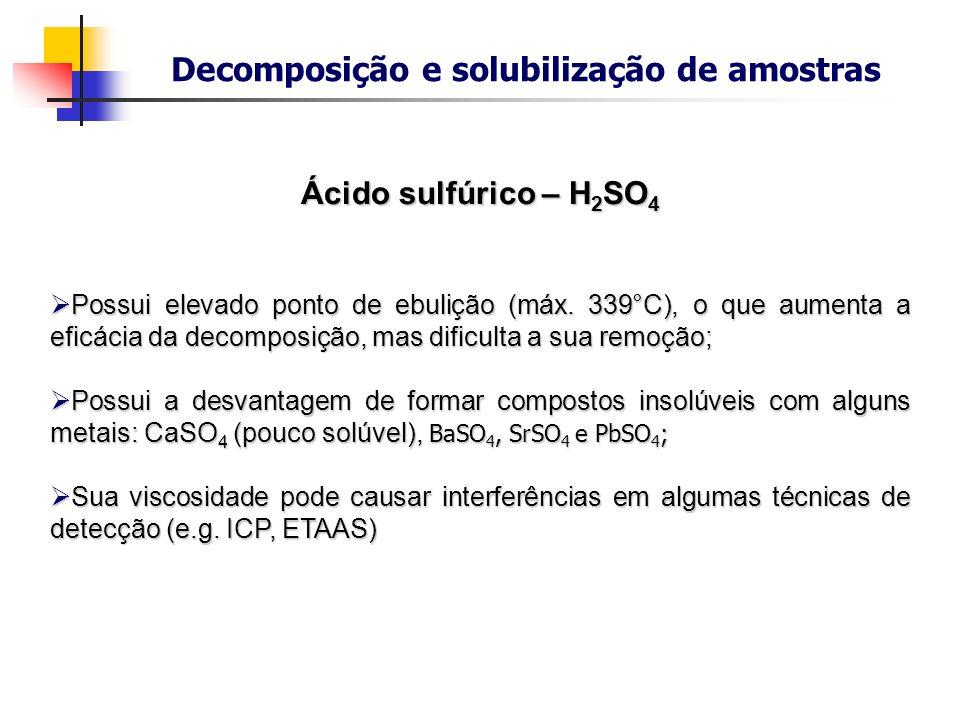Decomposição e solubilização de amostras