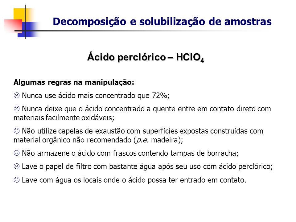 Decomposição e solubilização de amostras Ácido perclórico – HClO4