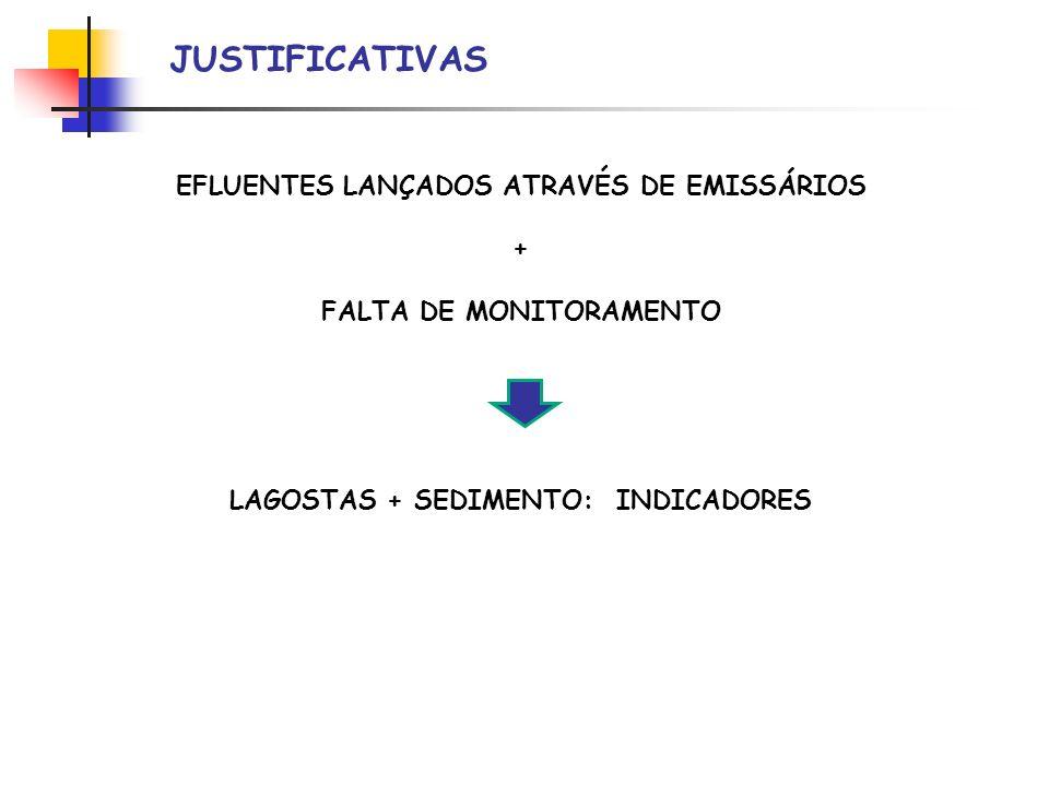 JUSTIFICATIVAS EFLUENTES LANÇADOS ATRAVÉS DE EMISSÁRIOS +