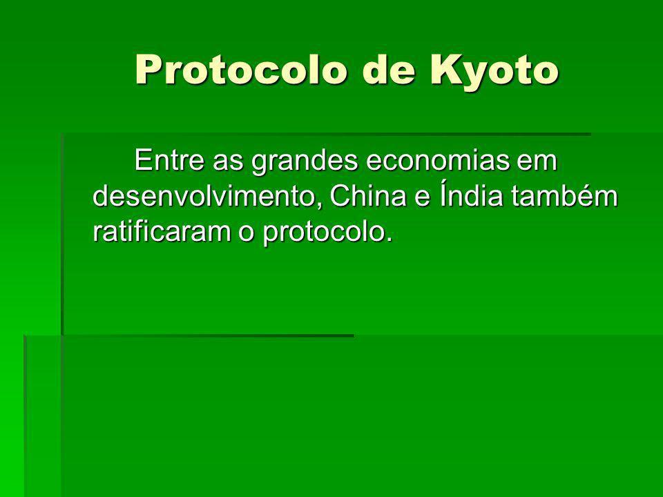Protocolo de Kyoto Entre as grandes economias em desenvolvimento, China e Índia também ratificaram o protocolo.