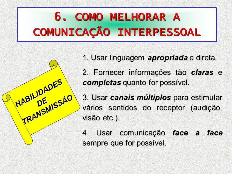 6. COMO MELHORAR A COMUNICAÇÃO INTERPESSOAL