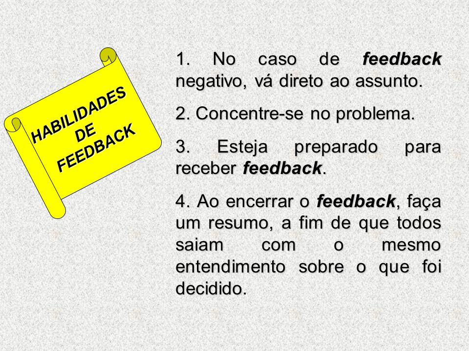 1. No caso de feedback negativo, vá direto ao assunto.