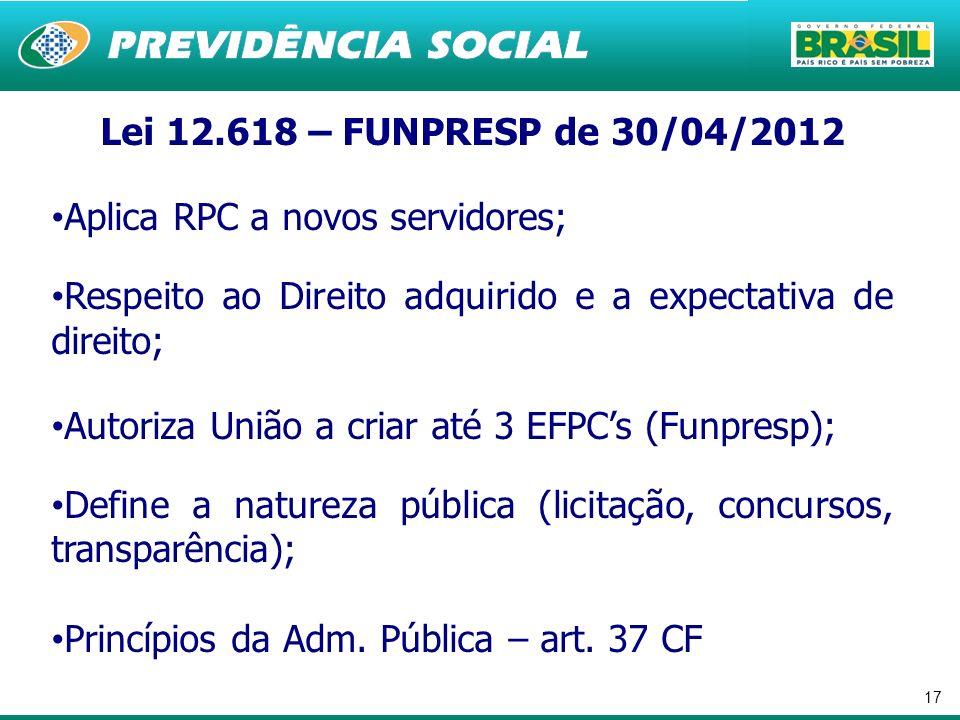 Lei 12.618 – FUNPRESP de 30/04/2012 Aplica RPC a novos servidores; Respeito ao Direito adquirido e a expectativa de direito;