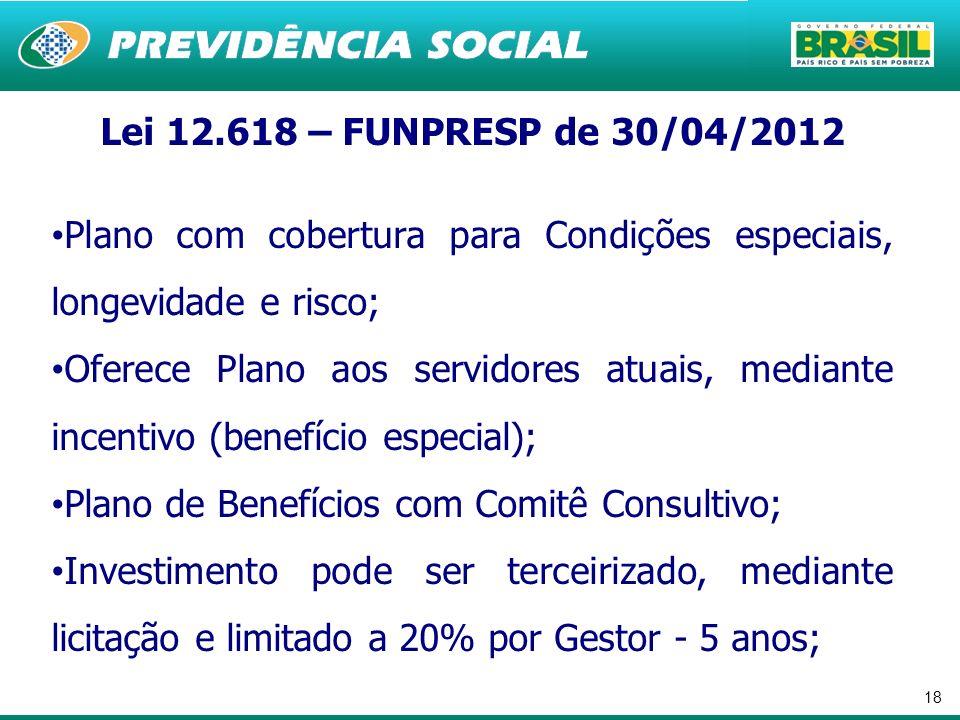 Lei 12.618 – FUNPRESP de 30/04/2012 Plano com cobertura para Condições especiais, longevidade e risco;