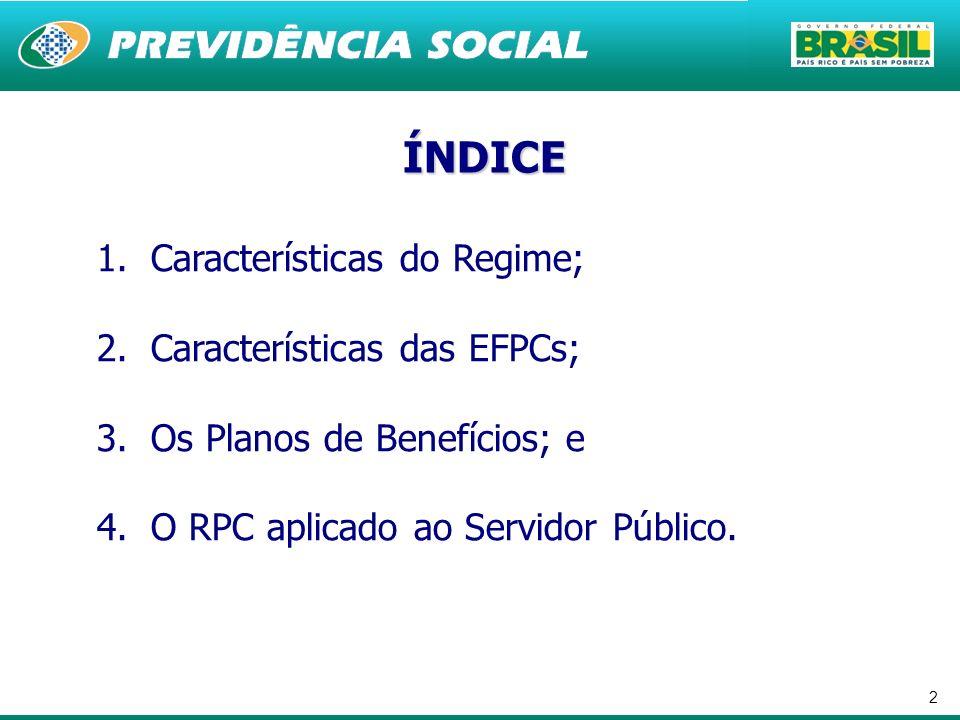 ÍNDICE Características do Regime; Características das EFPCs;