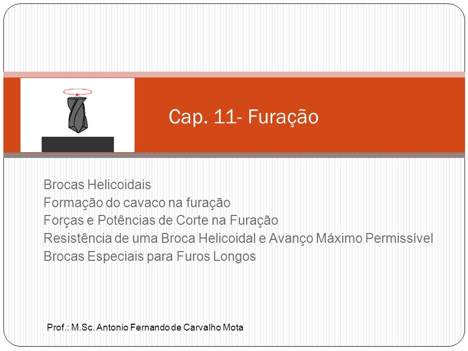 Cap. 11- Furação Brocas Helicoidais Formação do cavaco na furação